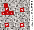 Computer keyboard with a Love Icon for Valentine's Day, illustration - stock photo