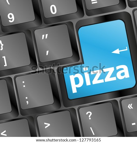 Computer keyboard with blue pizza word on enter key, raster - stock photo