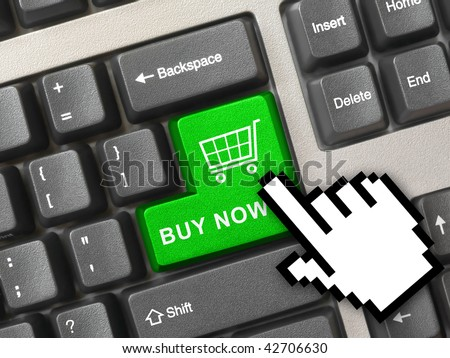 Computer keyboard with blue shopping key - internet concept - stock photo