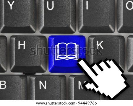 Computer keyboard with Book key - education background - stock photo