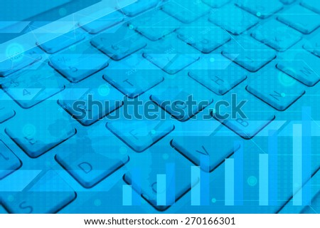 Computer keyboard with business graph, chart and map, digital marketing concept, Elements of this image furnished by NASA - stock photo