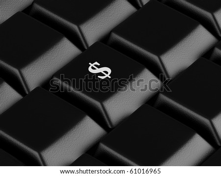 Computer keyboard with Dollar key. High resolution image.  3d rendered illustration. - stock photo