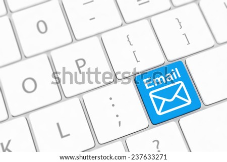 Computer keyboard with e-mail key - stock photo