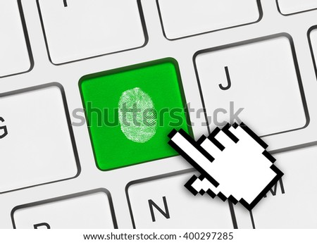 Computer keyboard with fingerprint - security concept - stock photo