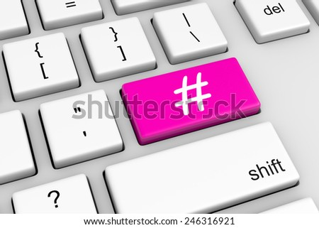 Computer Keyboard with Hashtag Symbol Button Illustration - stock photo