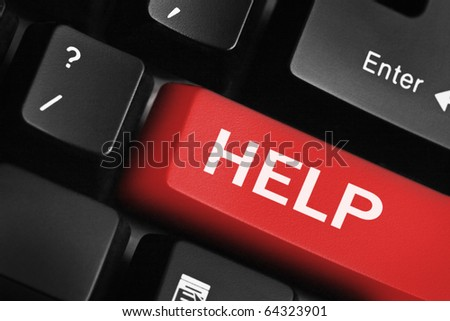 Computer keyboard with help key - stock photo