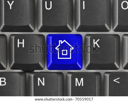 Computer keyboard with Home key - technology background - stock photo