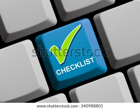 Computer Keyboard with hook symbol showing Checklist - stock photo