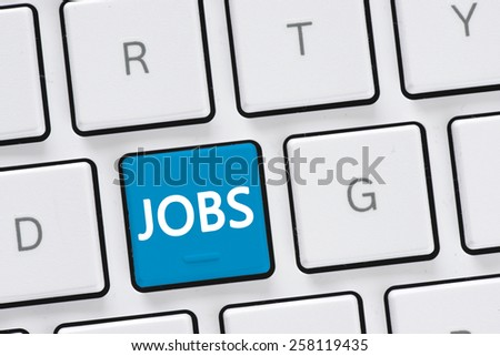 Computer keyboard with jobs button. Computer keyboard with jobs button, concept - stock photo