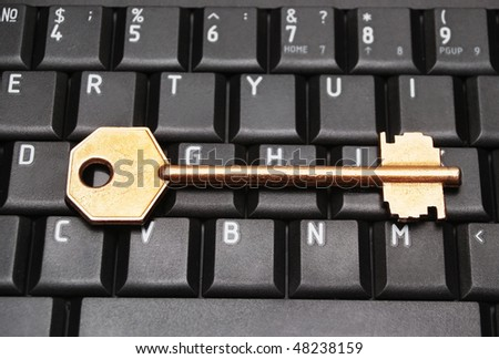 Computer keyboard with key - stock photo