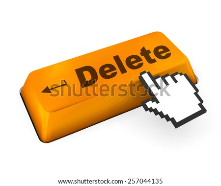 Computer keyboard with  key delete, close-up, raster - stock photo