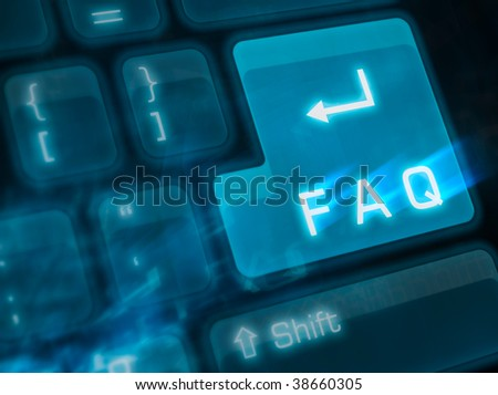 Computer keyboard with key FAQ - stock photo