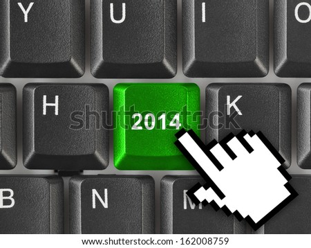 Computer keyboard with 2014 key - holiday concept - stock photo