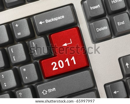 Computer keyboard with 2011 key - holiday concept - stock photo