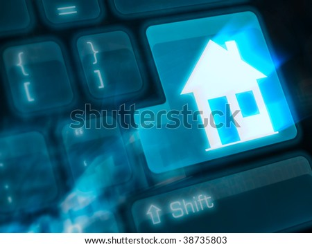 Computer keyboard with key home - stock photo