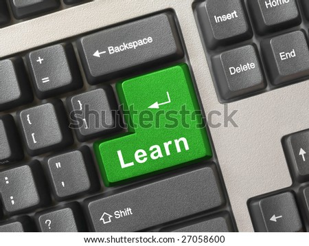 Computer keyboard with key Learn, internet education concept - stock photo