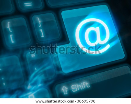 Computer keyboard with key mail - stock photo