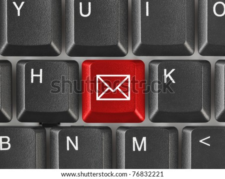 Computer keyboard with letter key - internet concept - stock photo