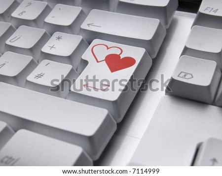 Computer keyboard with LOVE enter key.