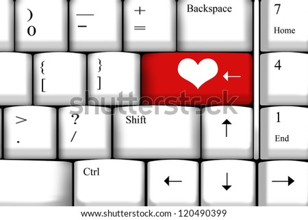 Computer keyboard with love key - stock photo