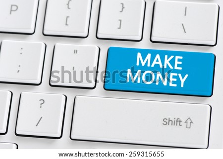 Computer keyboard with make money wbuton. Computer keyboard with make money button concept - stock photo