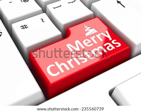 Computer keyboard with Merry Christmas key, three-dimensional rendering  - stock photo