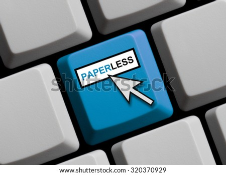 Computer Keyboard with mouse arrow is showing Paperless - stock photo
