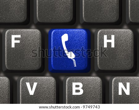 Computer keyboard with phone button, communication concept - stock photo