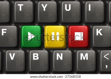 Computer keyboard with Play, Pause and Stop keys - music concept - stock photo