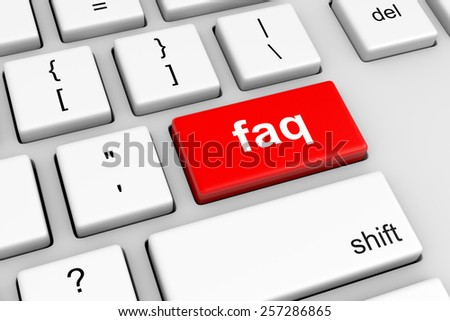 Computer Keyboard with Red Faq Button Illustration - stock photo
