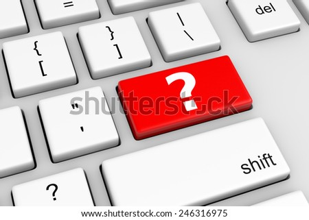Computer Keyboard with Red Help Button Illustration