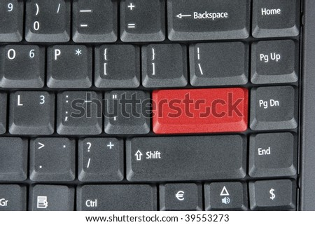 Computer keyboard with red key, technology background - stock photo