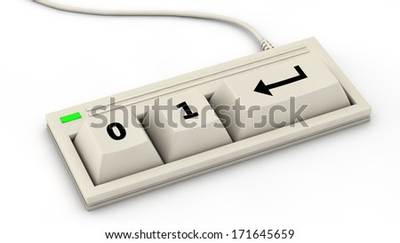computer keyboard with reduced layout for binary input - 0, 1, Enter, Return - stock photo