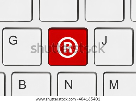 Computer keyboard with Registered mark symbol - business concept