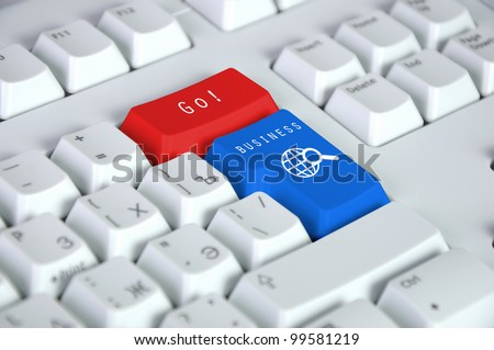 Computer keyboard with search and help symbol - stock photo
