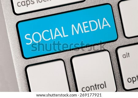 Computer Keyboard with Social Media Button - stock photo