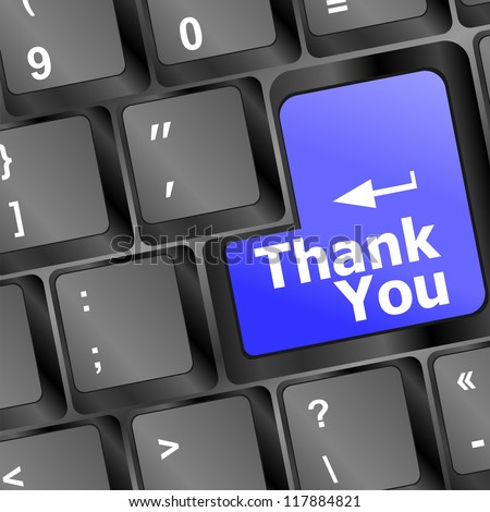 Computer keyboard with Thank You key, business concept, raster - stock photo