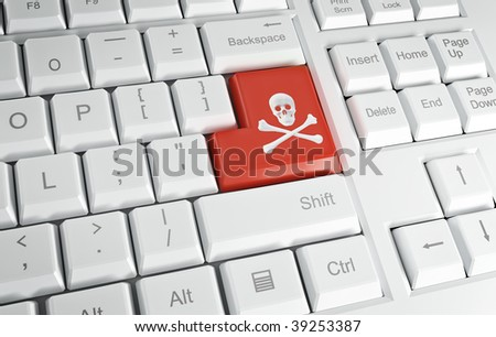 Computer keyboard with the pirate's symobl on the Enter key - stock photo