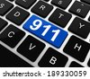 Computer keyboard with the 911 sign - stock photo