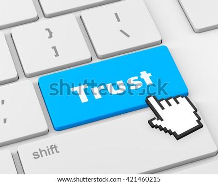 Computer keyboard with trust button, business concept, raster 3d rendering - stock photo