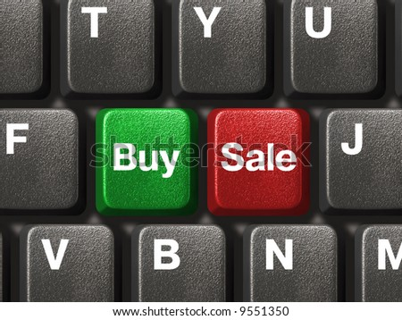 Computer keyboard with two business keys, e-commerce concept - stock photo