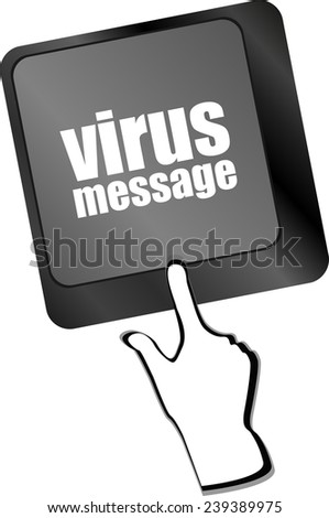 Computer keyboard with virus message key - stock photo