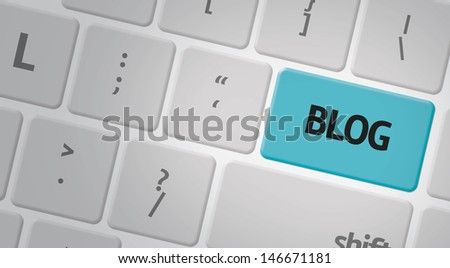 Computer keyboard with word Blog - stock photo