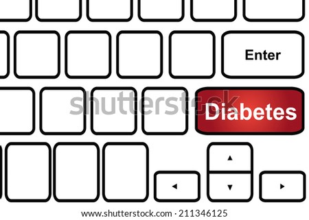 Computer keyboard with word diabetes - stock photo