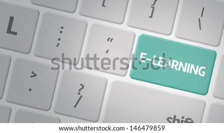 computer keyboard with word e-Learning - stock photo