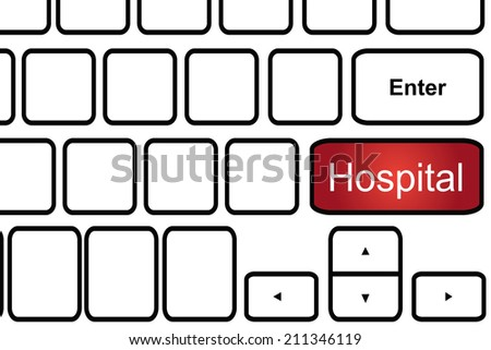 Computer keyboard with word hospital. - stock photo