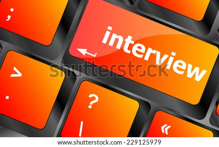 computer keyboard with word interview, education concept - stock photo