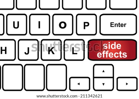 Computer keyboard with word side effects. - stock photo