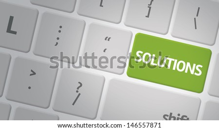 Computer keyboard with word Solutions - stock photo