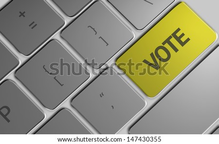 Computer keyboard with word Vote - stock photo